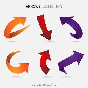Set of colored arrows