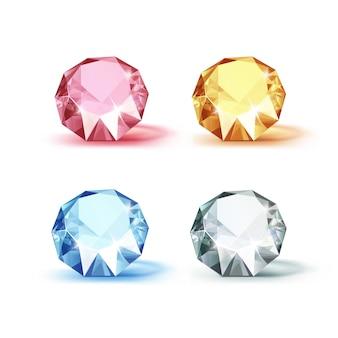 白で隔離される色のブルーピンクイエローとホワイトの光沢のあるクリアダイヤモンドのセット