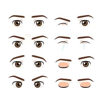 色のかわいい男性の目と異なる表情の眉毛のセット