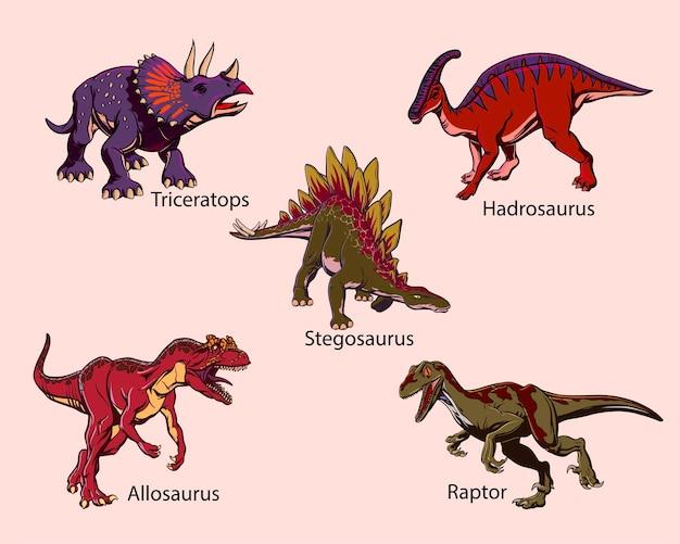 印刷用のポップアートスタイルの色付きの描かれた恐竜のセット。ベクトルイラスト