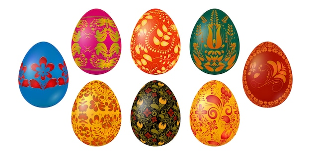 Набор цветных пасхальных яиц