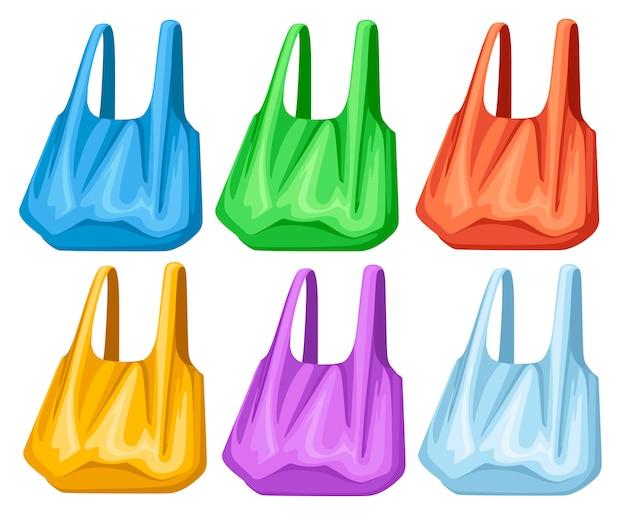 Набор цветных пустых пластиковых пакетов. пластиковые хозяйственные пакеты с ручками. иллюстрация на белом фоне