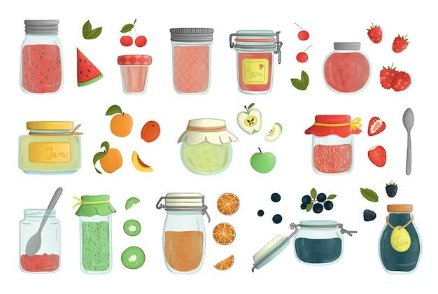 白い背景で隔離の色付きガラスジャム瓶水彩スタイルのセット。フルーツとベリーの入った鉢植えの保存食品のカラフルなコレクション。