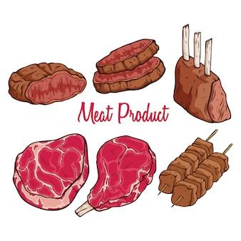 白い背景にテキストと色付きの手描きの肉製品のセット