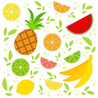 Набор цветных изолированных фруктов иллюстрации