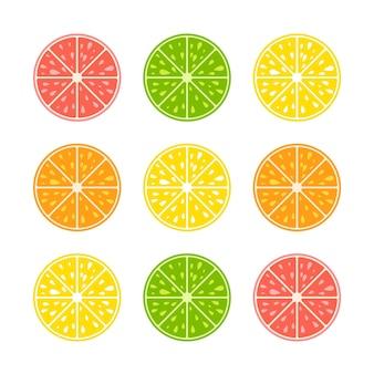 Набор цветных изолированных половинок аппетитных фруктов