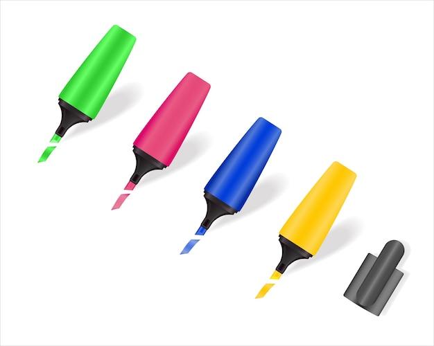흰색 배경에 격리된 그리기 및 강조 표시를 위한 컬러 마커 세트