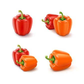色のオレンジと赤の甘いブルガリアのピーマン、白い背景で隔離のパプリカのセット