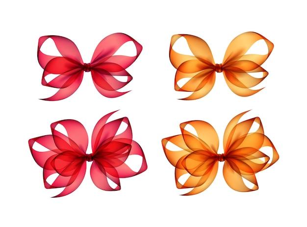 背景に色付きのオレンジ色の赤いギフト弓のセット