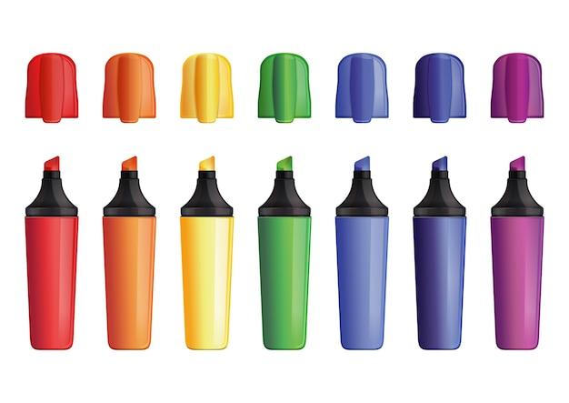 キャップ付きの色の屋外マーカーのセット。フェルトペン。フェルトペン。白で隔離