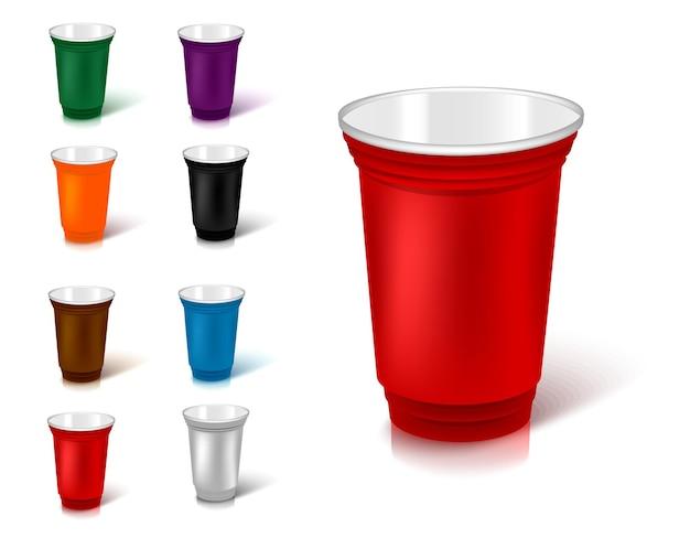 컬러 플라스틱 컵 세트입니다. 길거리 음식