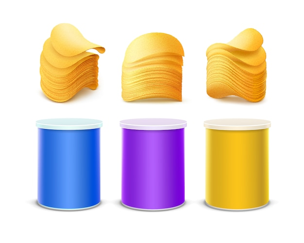 감자 파 삭 파삭 한 칩의 스택과 함께 패키지 디자인에 대 한 색된 보라색 파란색 노란색 주석 상자 컨테이너 작은 튜브의 설정에 고립 된 흰색 배경을 닫습니다.
