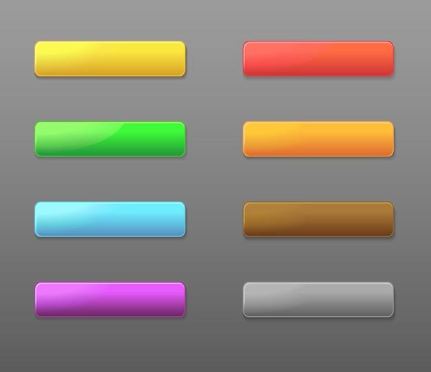 色付きの長方形のwebボタンのセット