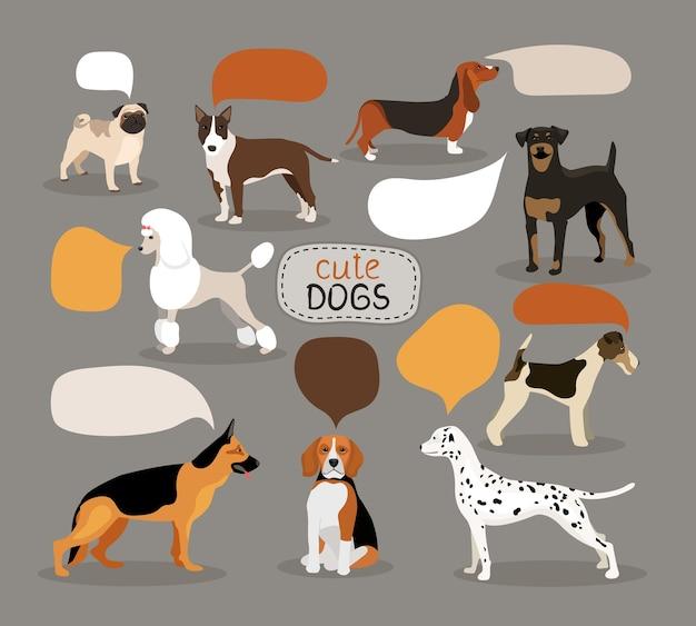 Набор цветных векторных пород собак с пустыми речевыми пузырями с изображением мопса-ищейки, ротвейлера, бигля, далматинца, пуделя, фокстерьера и питбуля