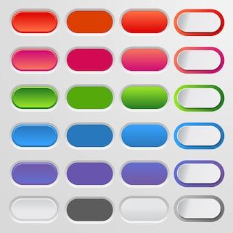 色付きのwebボタンのセット。カラフルなコレクション