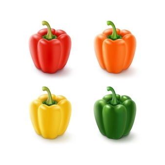 Набор цветных желтый зеленый оранжевый и красный сладкий болгарский перец, паприка, изолированные на белом