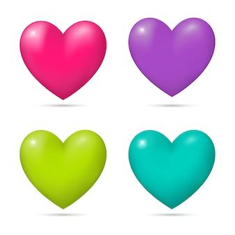 Набор красочных 3d сердец на белом фоне. баннер, шаблон плаката, элемент декора. векторная иллюстрация.