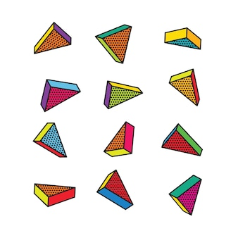 Набор красочных трехмерных треугольников в стиле поп-арт