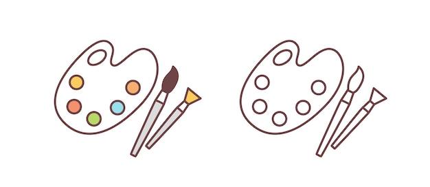 유성 페인트와 브러시가 있는 예술가 팔레트의 다채롭고 단색 그림 세트. 흰색 배경에 격리된 그림 또는 시각 예술용 도구입니다. 선형 스타일의 간단한 벡터 일러스트입니다.