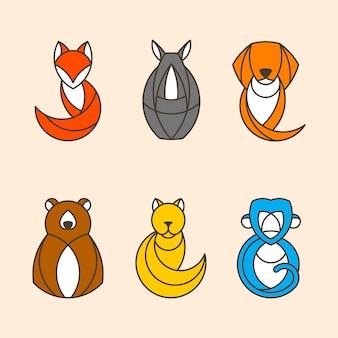 Набор красочных векторов животных