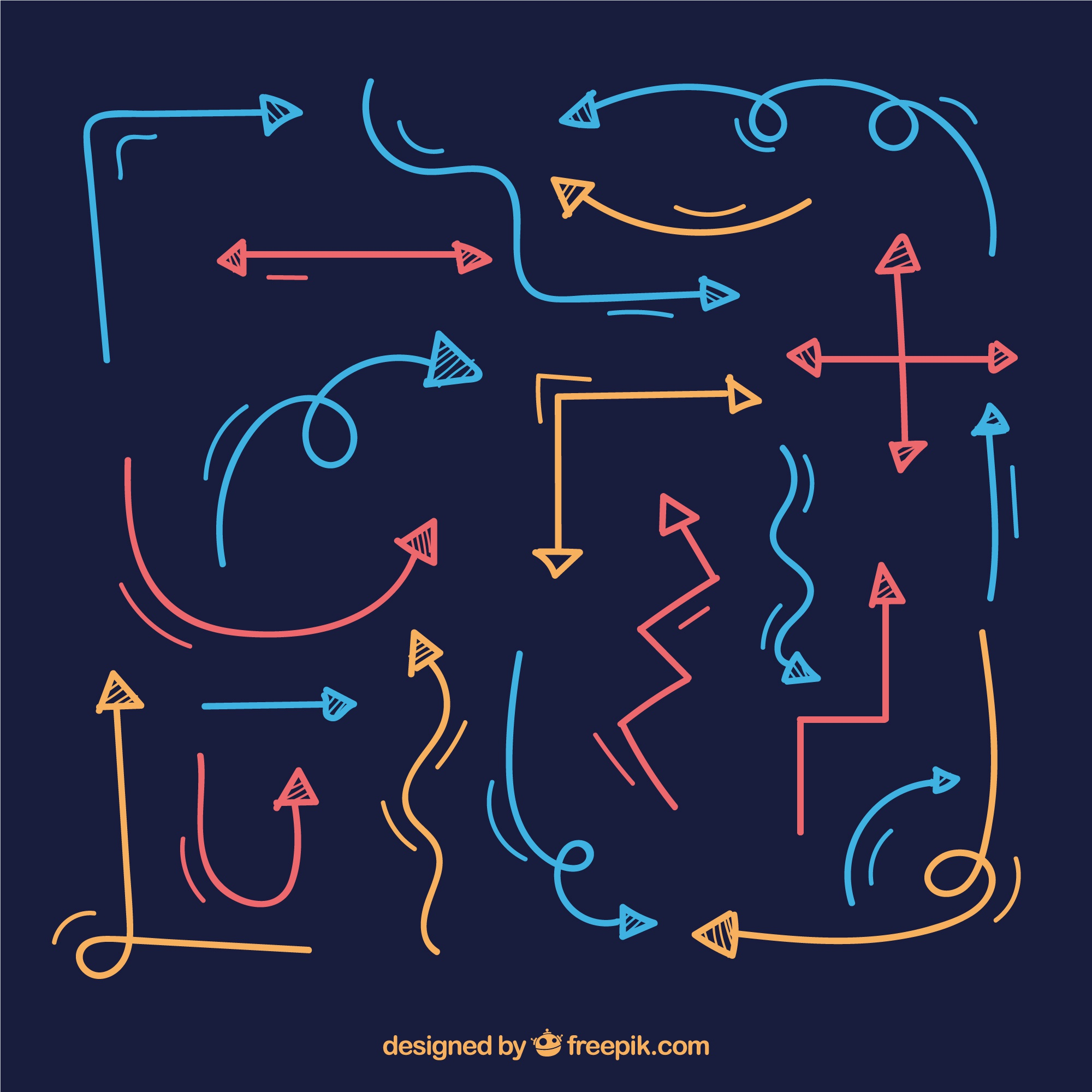 Set of colorful arrows in hand drawn style