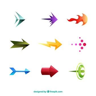 평면 스타일에 표시하는 다채로운 화살표의 집합