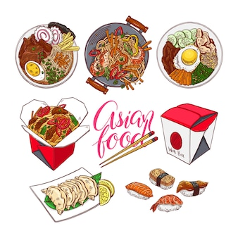 カラフルなアジア料理のセットです。ビビンバ、ゲッツァ、ラーメン、寿司。手描きイラスト