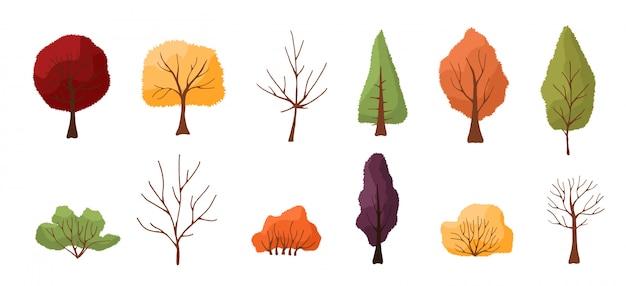 カラフルな秋の木々や茂みのセットです。白い背景で隔離されました。シンプルなデザイン。フラットスタイルのイラスト。