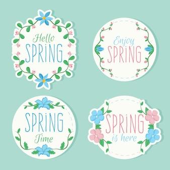 春をテーマにしたカラフルなバッジのセット
