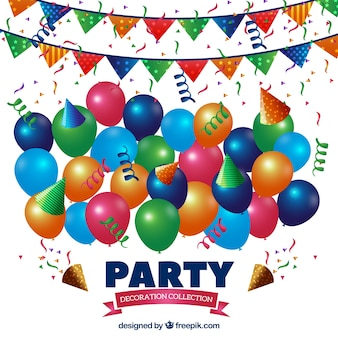 Set of colorful balloons and birthday garlands