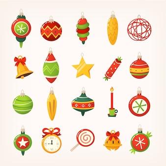 Набор красочных шариков, колокольчиков, сладостей, игрушек