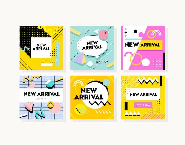 새로운 도착 프로 모션 게시물에 대 한 추상적인 기하학적 패턴으로 다채로운 배너의 집합입니다. 소셜 미디어 디지털 마케팅을 위한 템플릿 디자인. 인플루언서 브랜드 홍보 전단지. 벡터 일러스트 레이 션