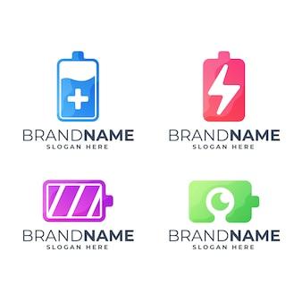 カラフルなバッテリーのロゴのテンプレートのセット