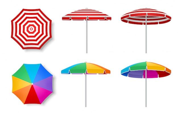 Набор красочных пляжных зонтов