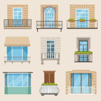 Набор красочных красивых балконов.