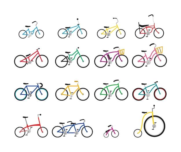 Набор красочных велосипедов различного размера и формы