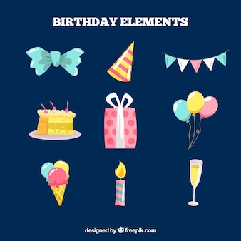 Set of colorful birthday elements