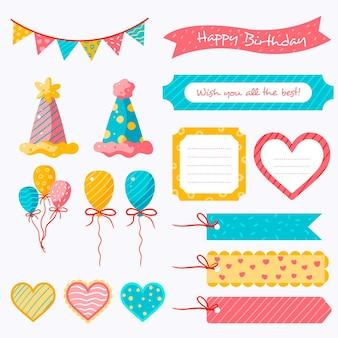 カラフルな誕生日のスクラップブックのセット
