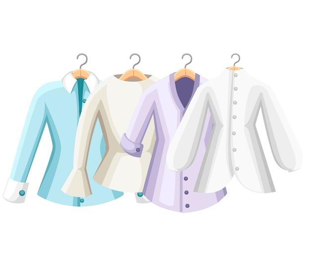 カラフルなブラウスのセットです。女性のブラウスのコレクション。ハンガーに服。白い背景の上の図
