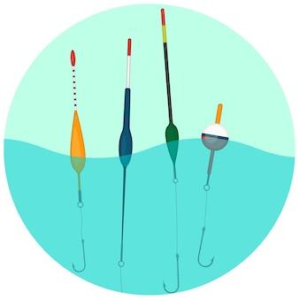 丸いウェブボタンで水の中を泳ぐカラフルな浮きのセット。フックを希望の深さに保持するために釣り糸に配置された小さなフロート