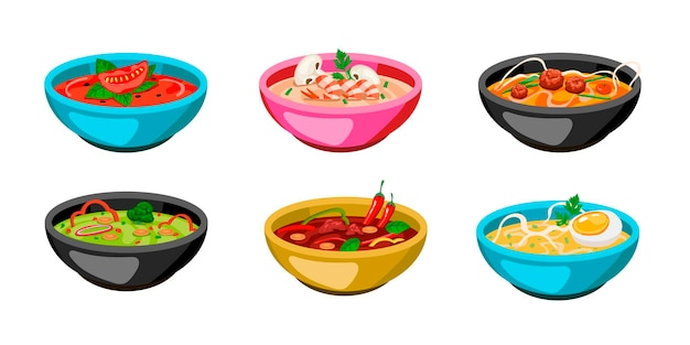 カラフルなスープのボウルのセットです。漫画イラスト