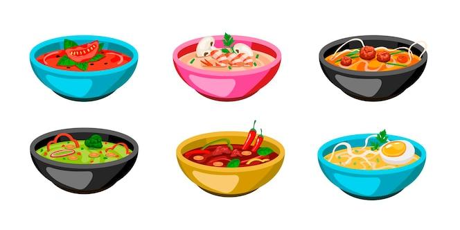 Набор красочных тарелок супа. иллюстрации шаржа