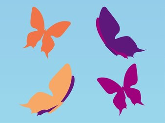 Set of colorful butterflies flying