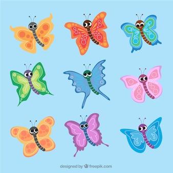 유치 한 스타일에 화려한 나비 세트