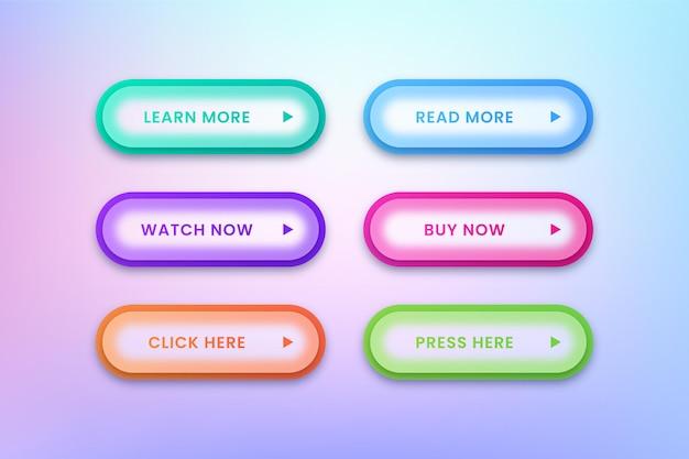 ウェブサイトのカラフルなボタンのセット
