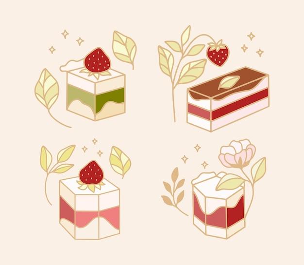 Набор красочных торта, печенья, элементов хлебобулочных с клубникой и ветвью листьев