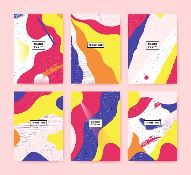 テキスト付きのカラフルなカードのセットありがとうございます。碑文と抽象的なカードのコレクション。