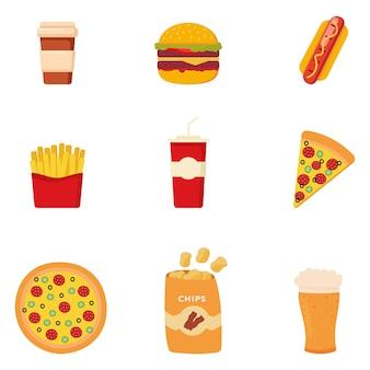 カラフルな漫画のファーストフードのセットです。ハンバーガー、ハンバーガー、フライドポテト、ピザ、コーヒー、ビール