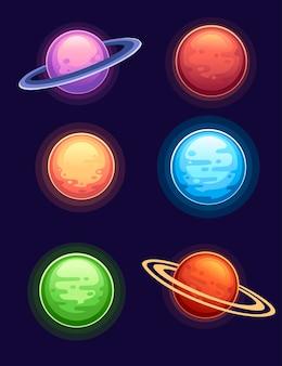 어두운 배경 평면 벡터 일러스트 레이 션에 화려한 만화 행성의 집합입니다.