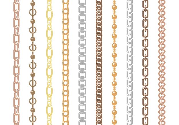 白い背景で隔離のカラフルなチェーンのセットです。さまざまな装飾の形と厚さのシルバーとゴールドの垂直および水平チェーンセット。